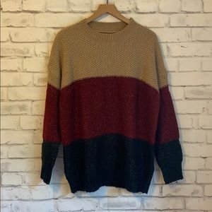 Knitted color block oversized sweater